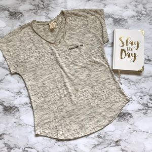 Faded Glory Gray and white striped t shirt